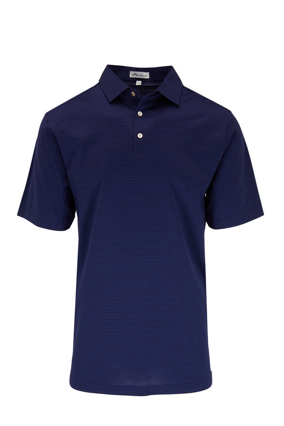 Peter Millar Navy Blue Olcott Stripe Short Sleeve Polo
