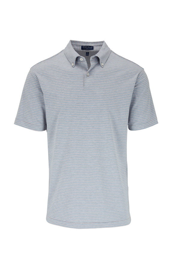 Peter Millar Blue Agate Stripe Jersey Polo