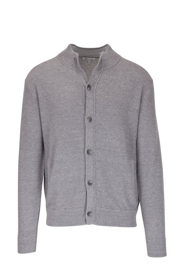 Peter Millar Coastal Gray Wool & Linen Front Button Cardigan