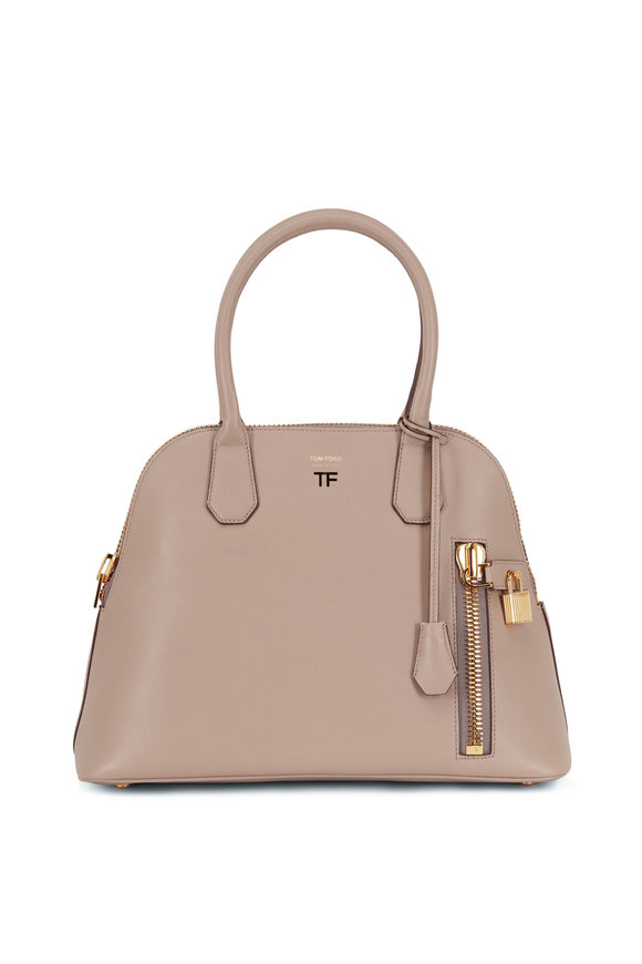 Tom Ford Alix Taupe Grained Silk Leather Dome Bag