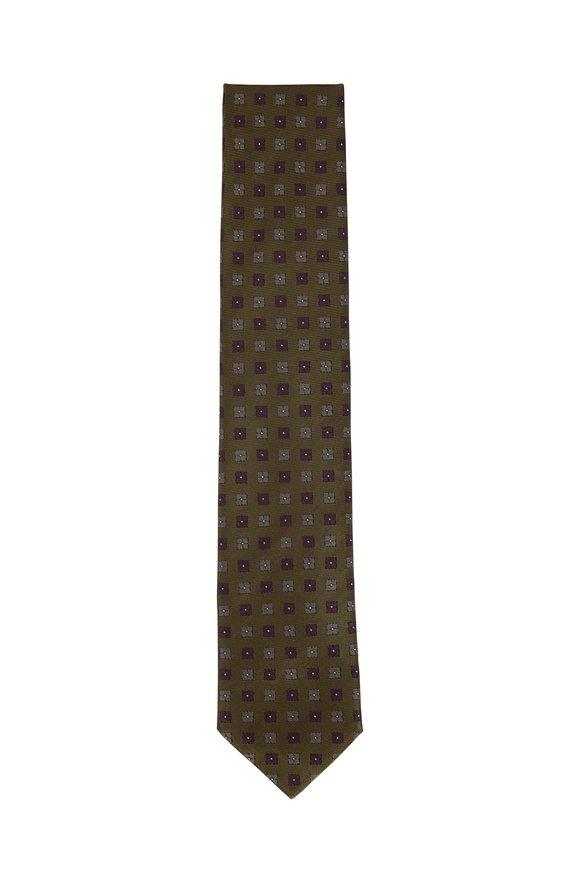 Brioni Olive & Blue Geometric Silk Necktie