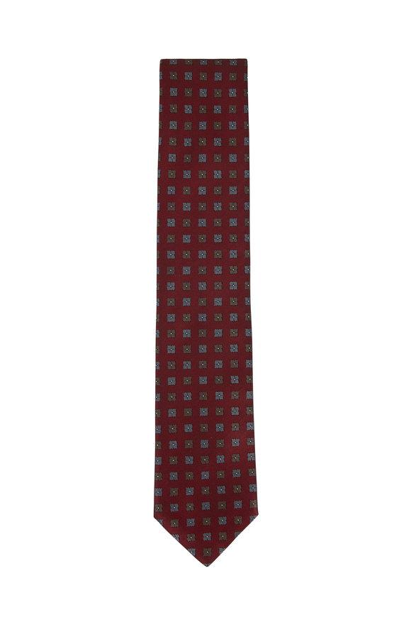 Brioni Bordeaux Geometric Silk Necktie