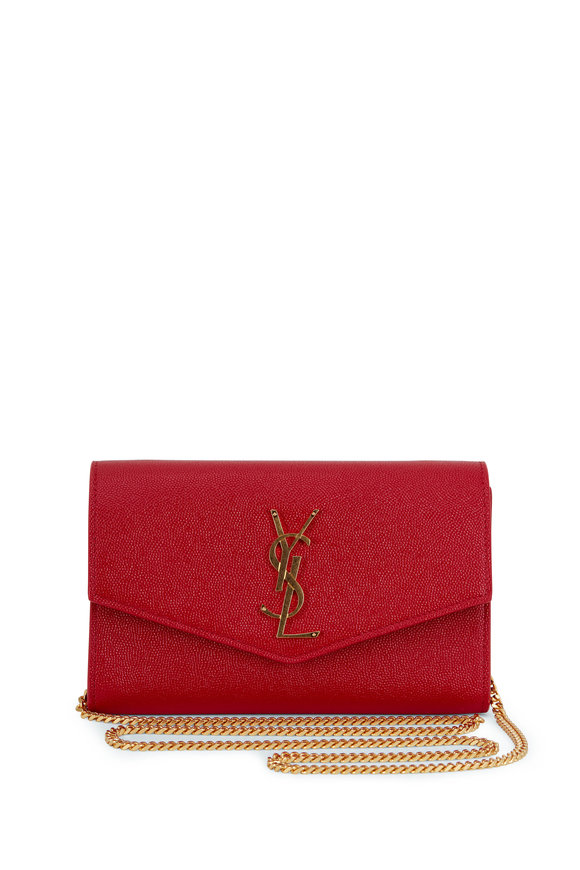 Saint Laurent Paris Red Grained Leather Small Chain Crossbody