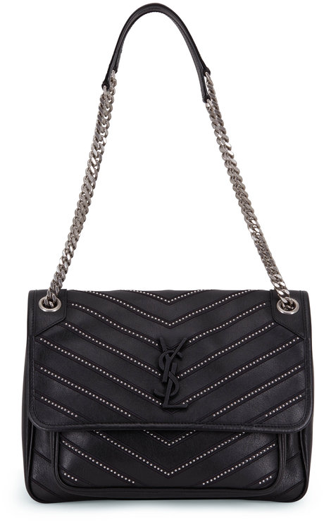 Saint Laurent Niki Monogram Black Micro Studded Medium Bag