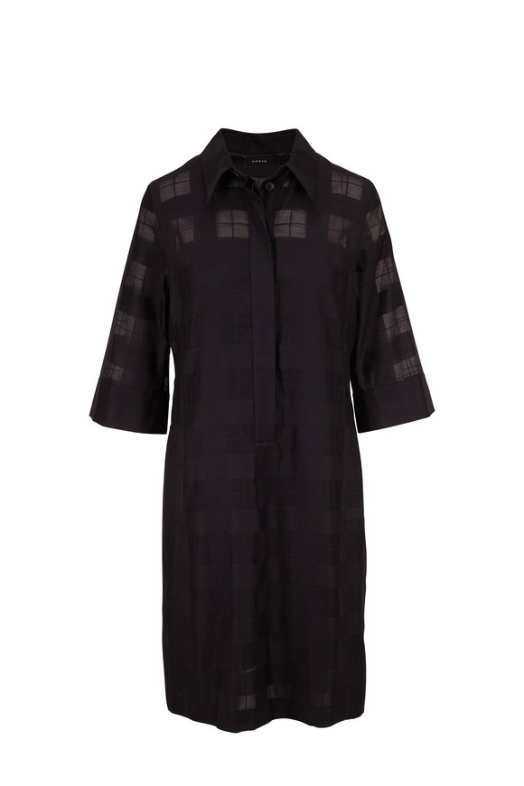 Akris Black Transparent Check Elbow Sleeve Shirtdress
