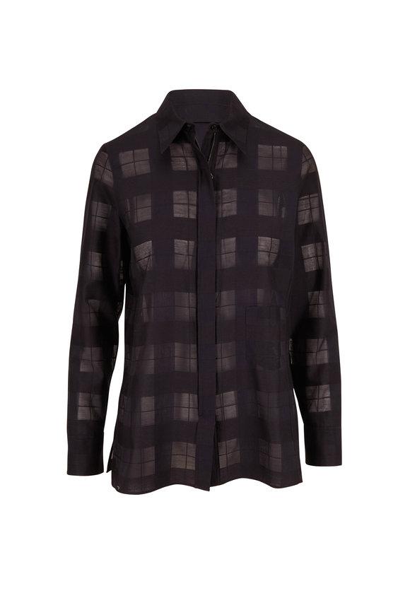 Akris Black Transparent Check Weave Front Zip Blouse