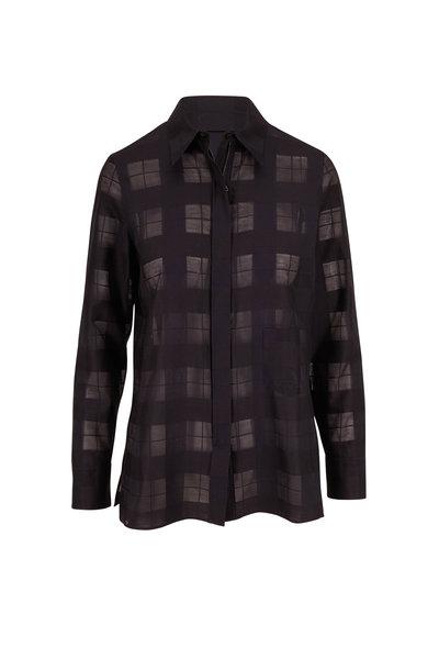 Akris - Black Transparent Check Weave Front Zip Blouse