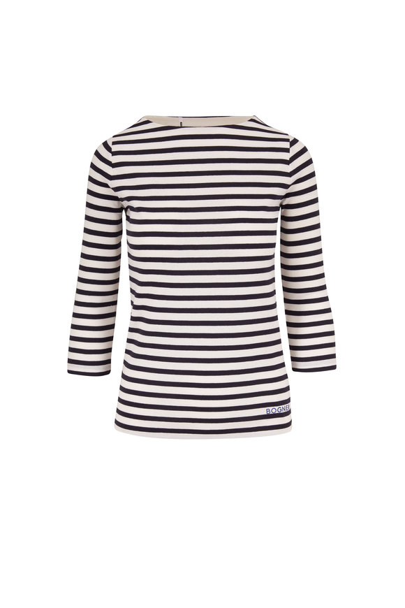 Bogner Louna Navy & White Striped Cotton T-Shirt