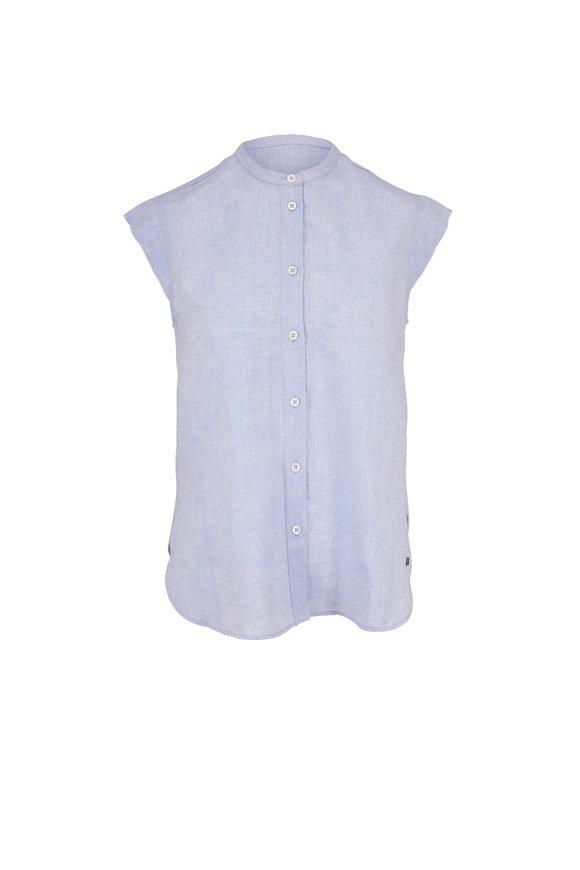 Bogner Arosa Light Blue Linen Cap Sleeve Blouse