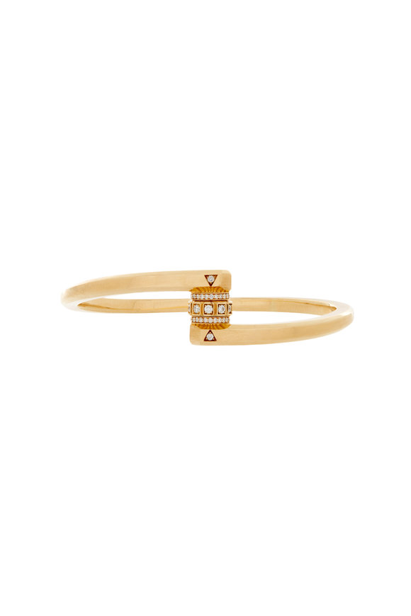 James Banks Codette Gold & Diamond Pavé Lock Bracelet