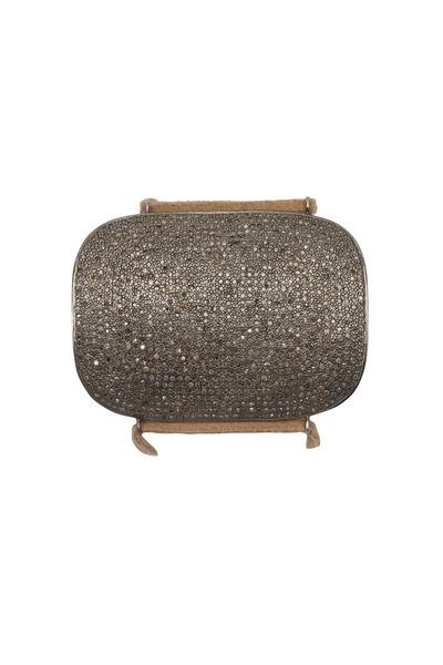 Tulah Jem - Tan Leather Pavé-Set White Diamond Cuff Bracelet
