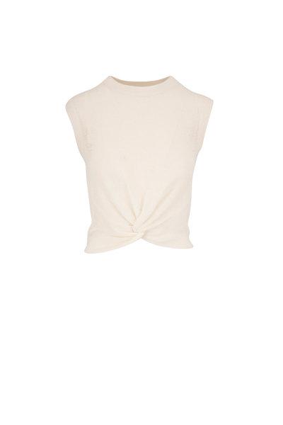 Veronica Beard - Kellen Ivory Front Knot Sleeveless Sweater