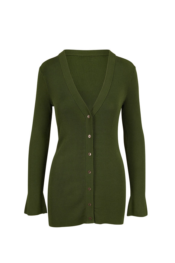 L'Agence Lucas Emerald Green Front Button Cardigan