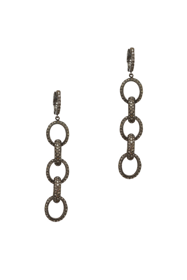 Pavé-Set White Diamond Links Drop Earrings