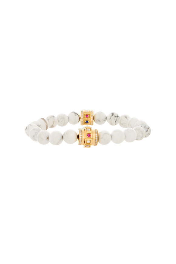 James Banks White Howlite Beaded Bracelet