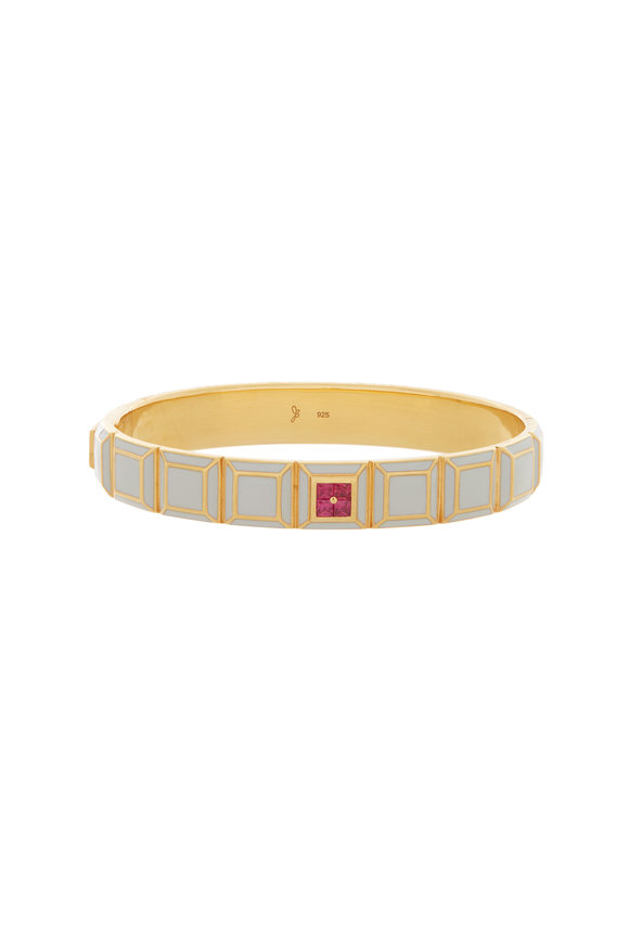 James Banks Yellow Gold Candy Carousel Gray Bangle