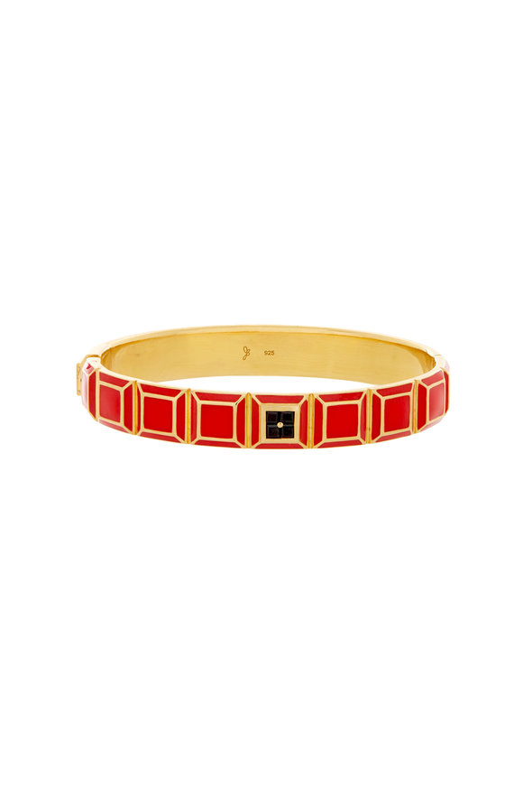 James Banks Candy Carousel Yellow Gold Plated Red Bangle