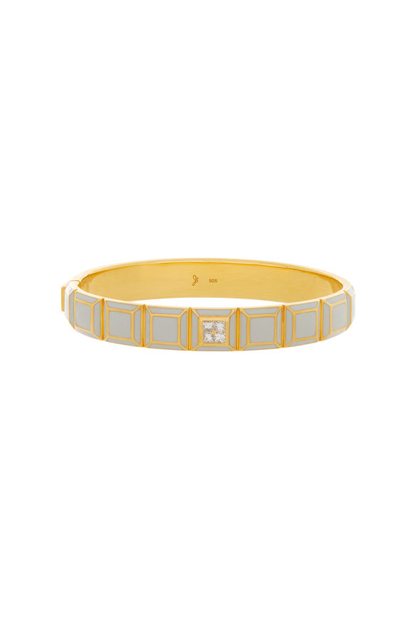 James Banks Candy Carousel Yellow Gold Plated White Bangle