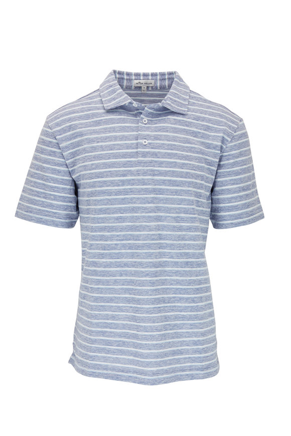 Peter Millar Blue Stripe Short Sleeve Polo