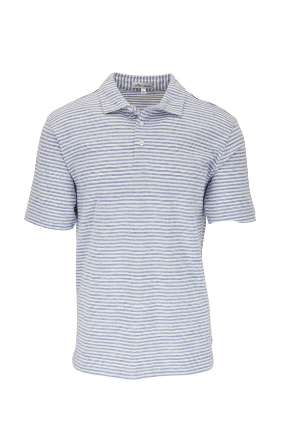 Peter Millar White & Light Blue Stripe Polo