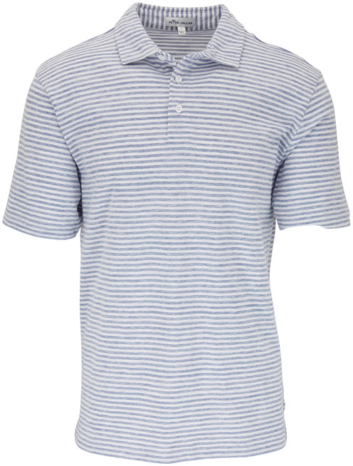 Peter Millar White & Light Blue Stripe Polo