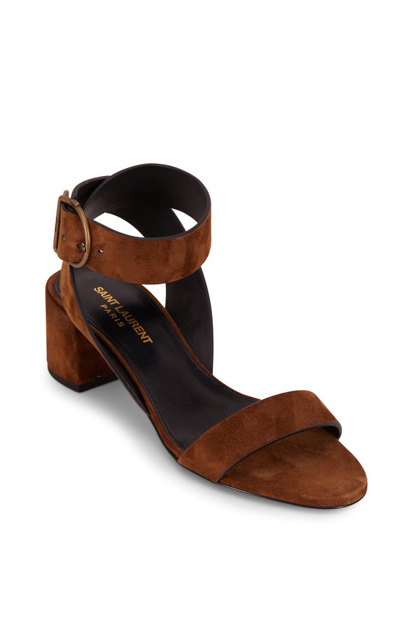 Saint Laurent Charlie Cachemire Brown Suede Sandal, 55mm