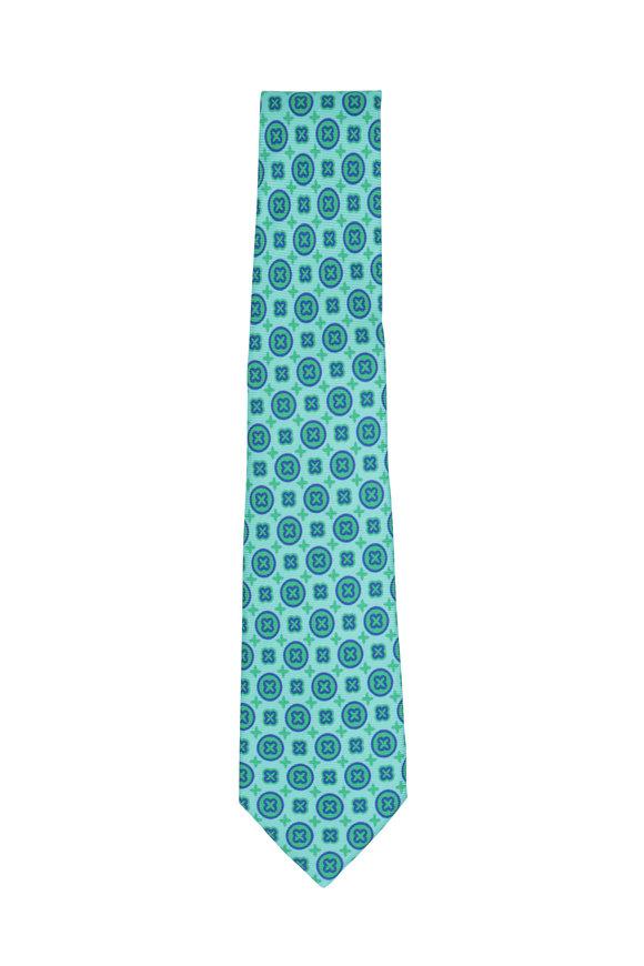 Kiton Green & Purple Medallion Silk Necktie