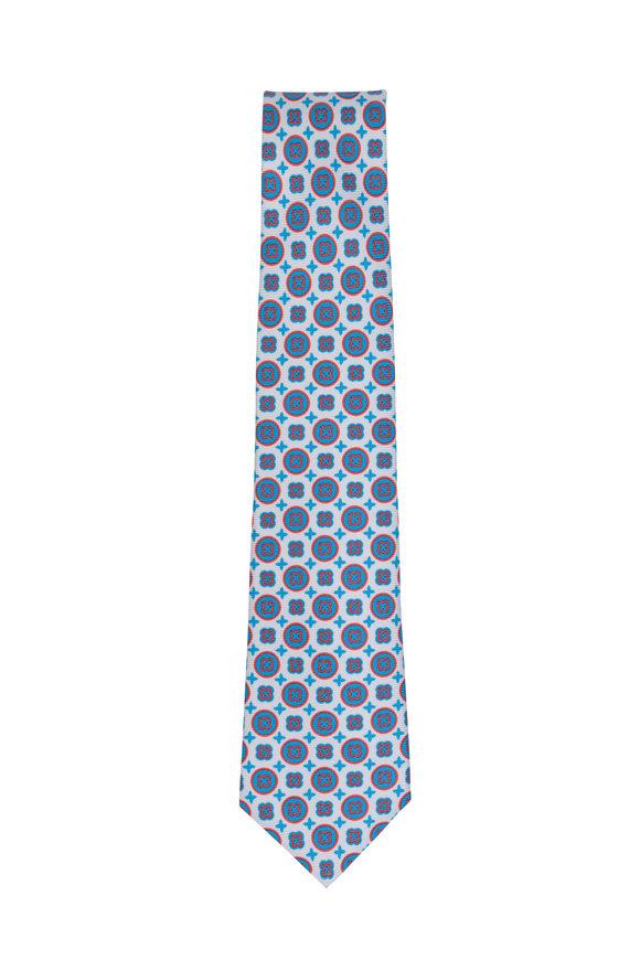 Kiton Pink & Blue Medallion Silk Necktie