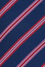 Kiton - Navy Blue, Pink & Red Striped Silk Necktie