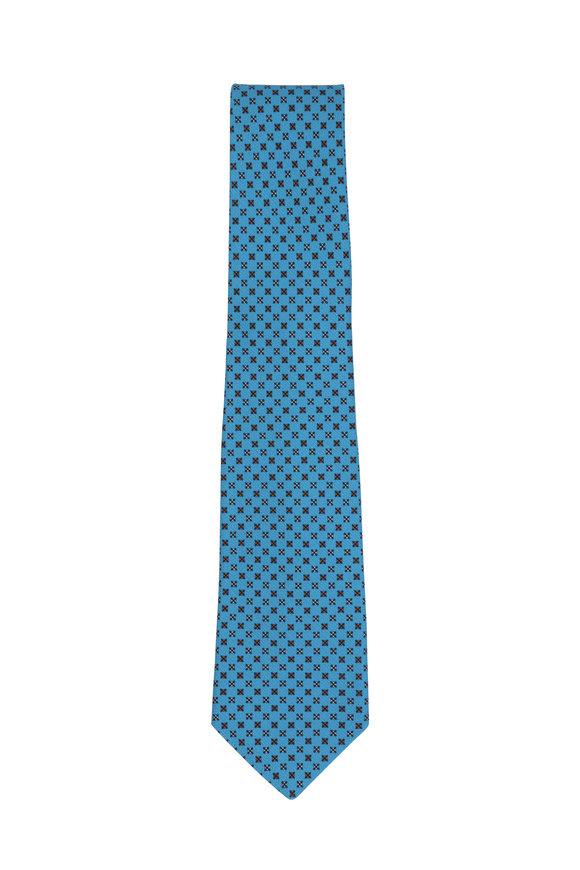 Kiton Teal Micro Diamond Silk Necktie