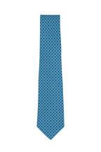 Kiton - Teal Micro Diamond Silk Necktie