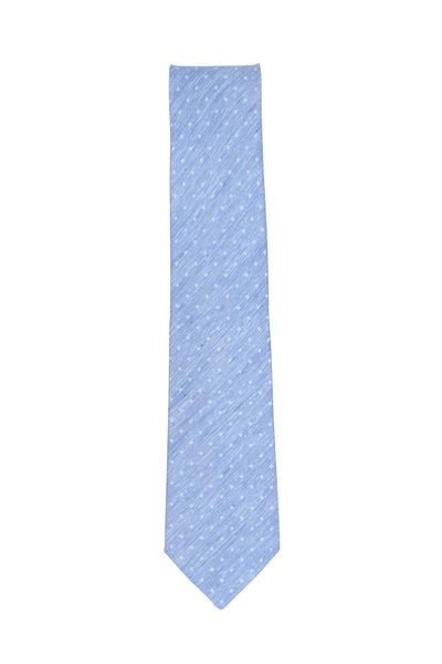 Kiton - Light Blue & White Dot Silk & Linen Necktie