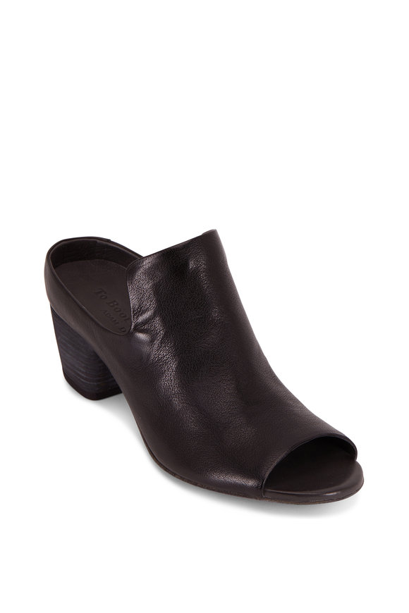 To Boot New York Women Olivia Black Leather Open Toe Mule, 50mm