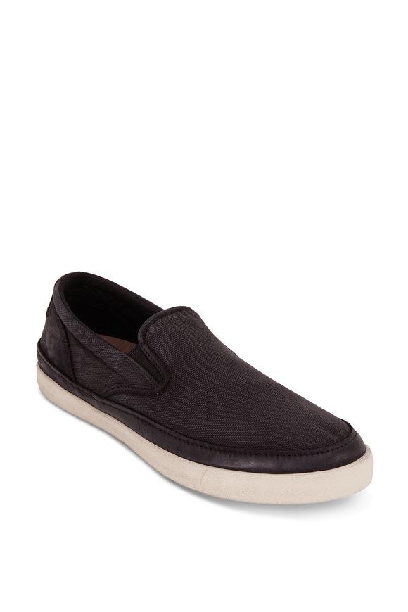 John Varvatos Jet Black Canvas Slip-On Sneaker