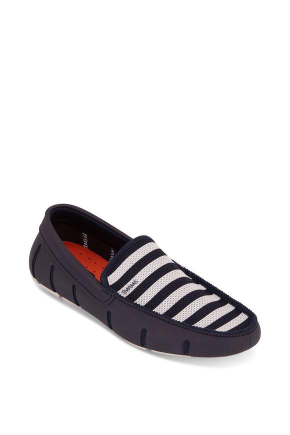 Swims Navy Blue & White Striped Venetian Loafer