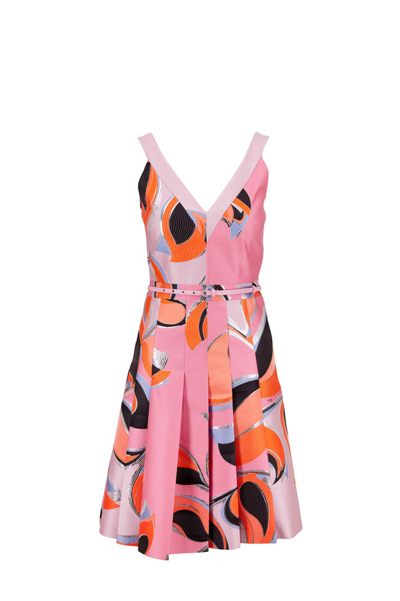 Pucci Rosa Printed Shantung Sleeveless Belted Dress