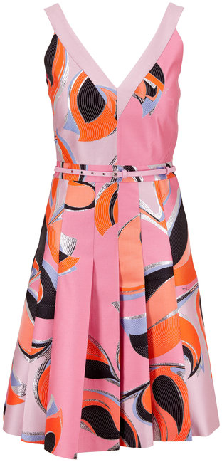 Pucci Rosa Printed Shantung Sleeveless Belted Dress