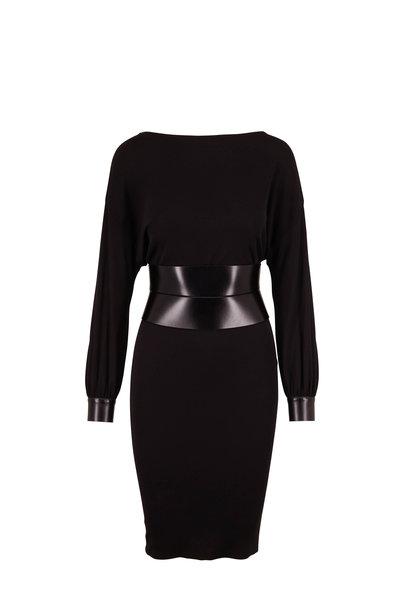 Tom Ford - Black Sable Jersey Leather Belt Long Sleeve Dress