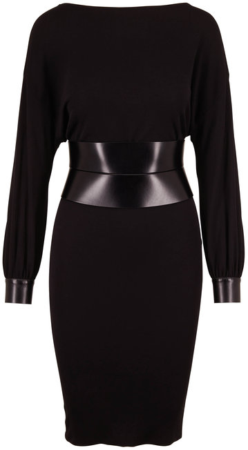 Tom Ford Black Sable Jersey Leather Belt Long Sleeve Dress