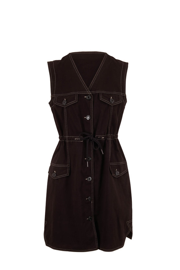 See by Chloé Black Stretch Cotton Button Front Sleeveless Dress