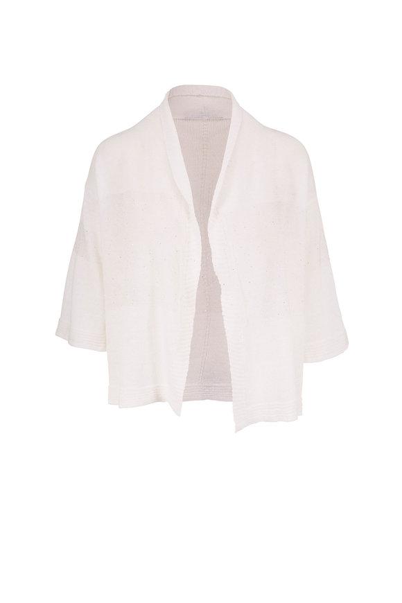 Rani Arabella White Linen & Cotton Paillette Open Front Cardigan