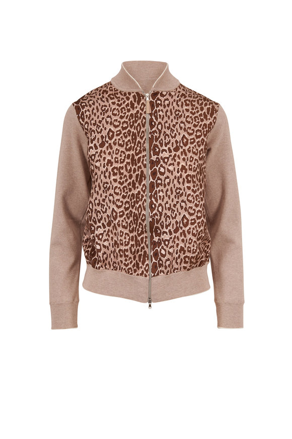 Rani Arabella Brown Cotton & Silk Animal Print Front Zip Sweater