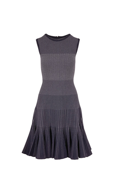 Oscar de la Renta - Navy & White Stripe Sleeveless Knit Dress