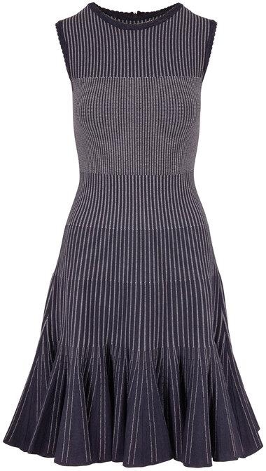 Oscar de la Renta Navy & White Stripe Sleeveless Knit Dress