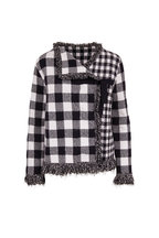 Oscar de la Renta - Navy & White Plaid Fringe Trim Jacket
