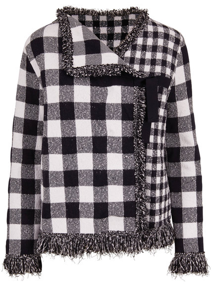 Oscar de la Renta Navy & White Plaid Fringe Trim Jacket