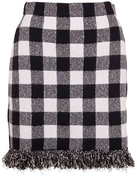 Oscar de la Renta Navy & White Plaid Fringe Hem Skirt