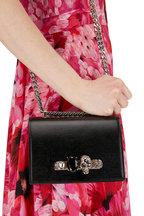 Alexander McQueen - Glossy Black Lizard Embossed Leather Shoulder Bag