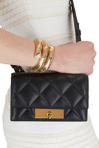 Alexander McQueen - Black Quilted Leather Skull Lock Mini Bag