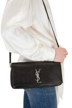 Saint Laurent - Kate Black Lamé Suede Shoulder Bag
